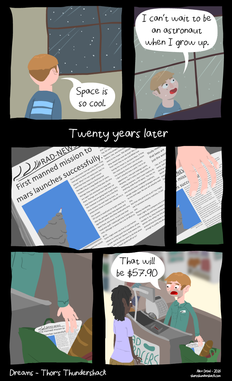 People read newspapers in the future? This comic makes no sense.